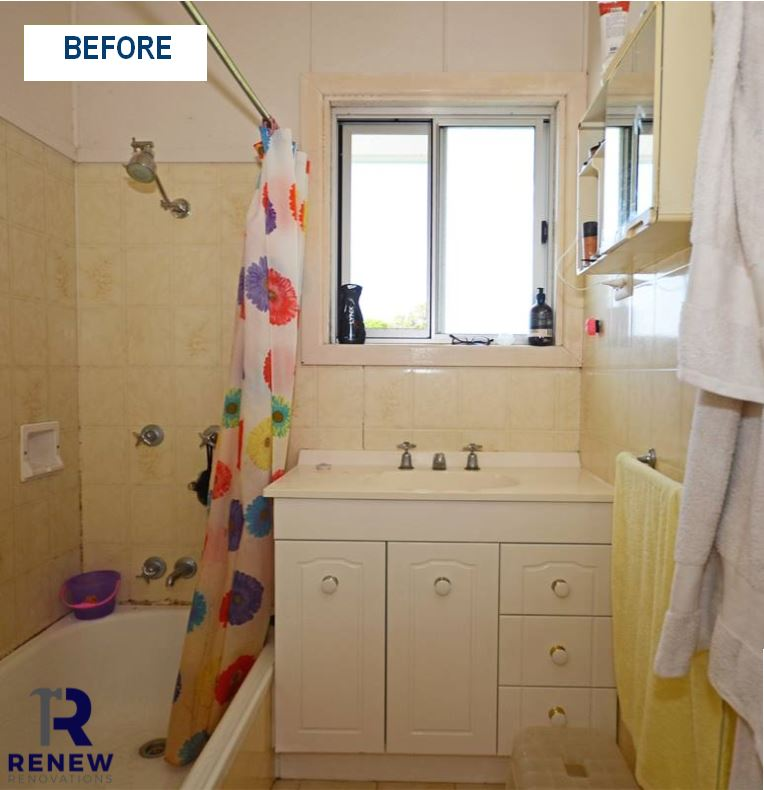 Before & after bathroom renovation Renew Gold Coast