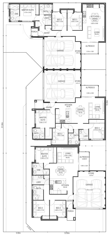 Triplex floorplan