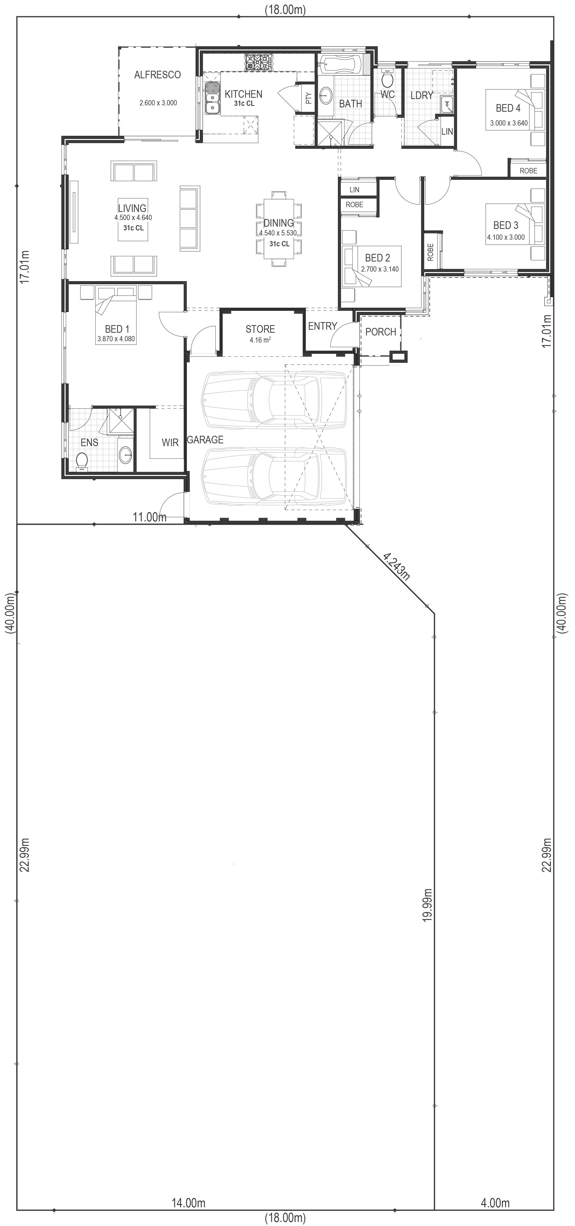 house behind house floorplan sample